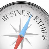 stock photo of ethics  - detailed illustration of a compass with business ethics text - JPG