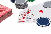 stock photo of flush  - Poker royal flush and gambling chips  isolated on white backfround - JPG