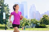 picture of skyscrapers  - Run woman exercising in Central Park New York City with urban background of skyscrapers skyline - JPG