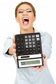 picture of sos  - Fear woman with sos on calculator - JPG
