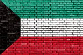 picture of kuwait  - flag of Kuwait painted on brick wall - JPG