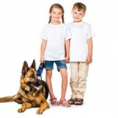 picture of shepherds  - happy kids in white t - JPG