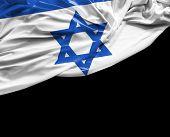 foto of israeli flag  - Israeli waving flag on black background - JPG