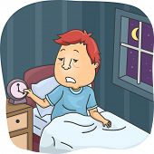 picture of deprivation  - Illustration of a Tired Looking Man Getting Up After a Few Hours of Sleep - JPG