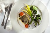 foto of halibut  - Halibut Fillet with Asparagus and Spinach - JPG