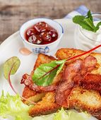 picture of french toast  - French toast with bacon for breakfast - JPG