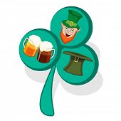 image of leprechaun hat  - Creative 3D clover leaf with Leprechaun face - JPG