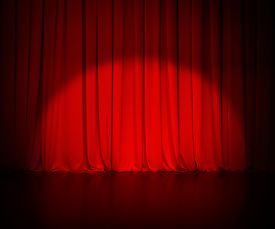 picture of curtains stage  - theatre red curtain or drapes background with light spot - JPG