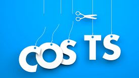 image of waste reduction  - Scissors cuts word COSTS - JPG