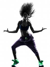 picture of  dancer  - one african woman woman zumba dancer dancing exercises  in studio silhouette isolated on white background - JPG
