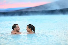 image of hot water  - Hot spring geothermal spa on Iceland - JPG