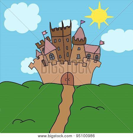 Castle On The Hill Vector Illustration Art