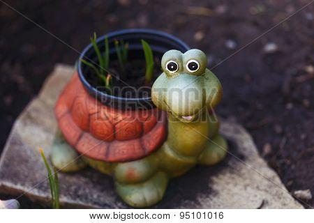 Funny Smiling Ceramic Turtle In The Garden