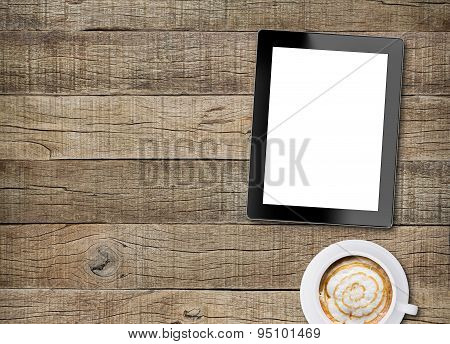 Tablet White Screen Display And Coffee On Old Wood Background