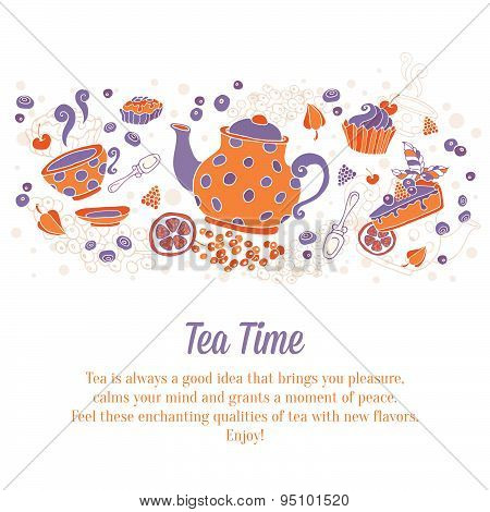 Elegant Set Of Hand Drawn Tea Banners