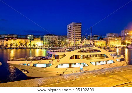 Yacht In Zadar Harbor Evening View