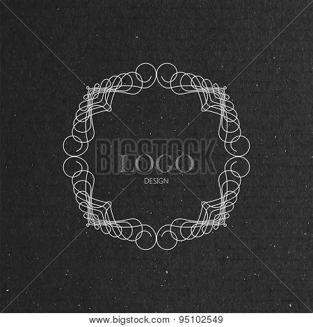 ornate art-deco frame on cardboard texture