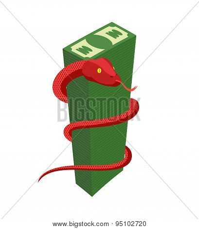 Red Snake encircles large pile of money. Cobra and dollars. Dangerous reptile protects cash. Vector