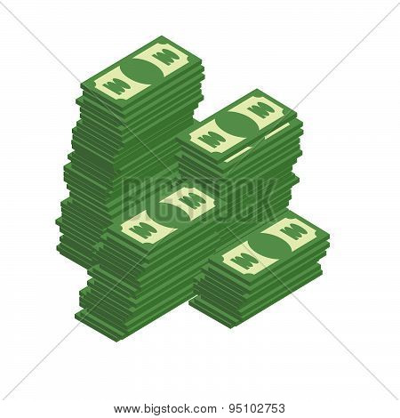 Bunch of cash. Piles of dollars. Wealth. Vector illustration.