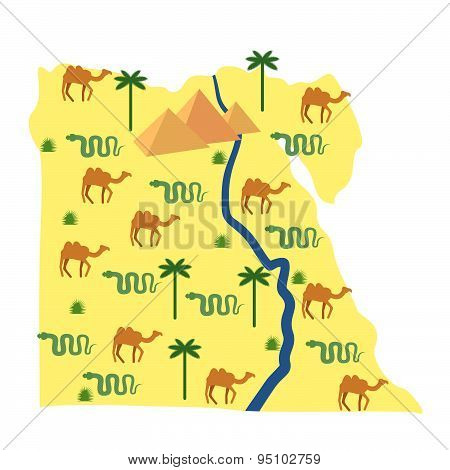 Egypt map. Characters and attractions of Egypt: pyramids and camels. Palm and snake. River Nile. Vec