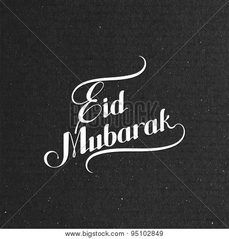 handwritten Eid Mubarak retro label
