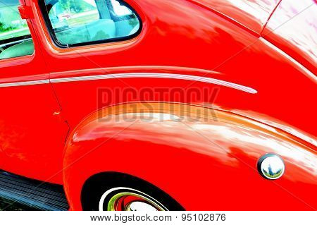 Red Antique Car Background