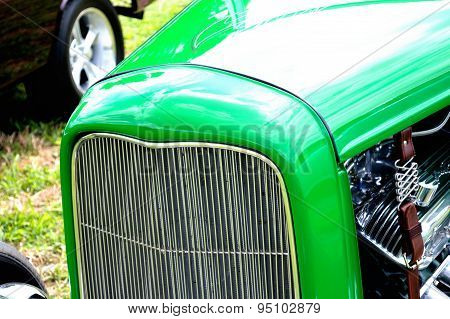 Closeup Antique Car Grill Background