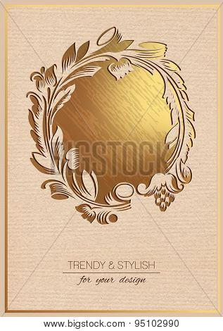 Invitation card with gold floral ornament. Template frame design for greeting card. You can place yo