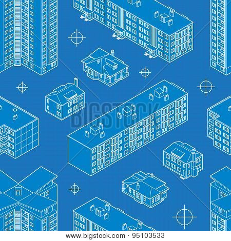 Blueprint dwelling buildings seamless pattern