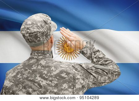 Soldier In Hat Facing National Flag Series - Argentina