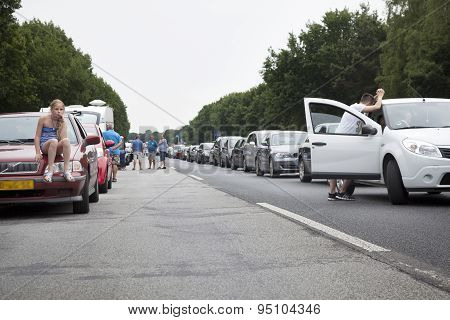 Traffic Jam On Motorway In Germany