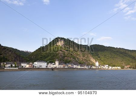 Sankt Goarshausen With Castle Along The River Rhine