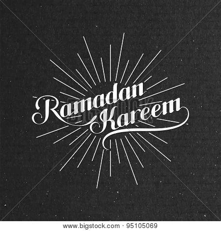 illustration of handwritten Ramadan Kareem retro label with lig