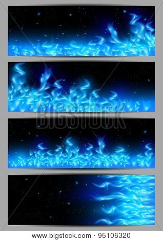 Blue Flame Banners