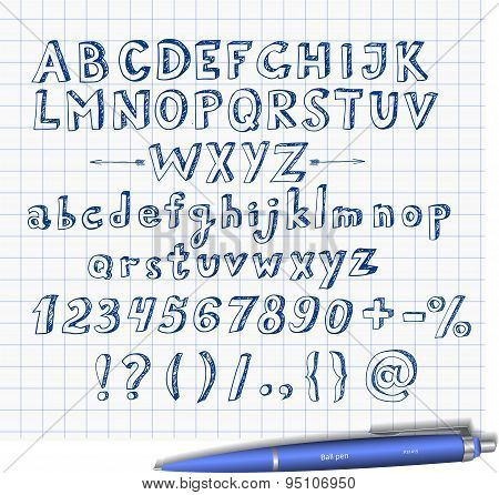 Doodle sketch font  hand drawn with blue pen