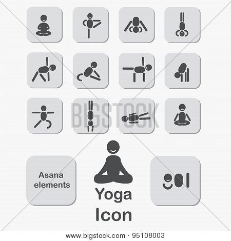 Set Of Icons. Poses Yoga Asanas. Vector.