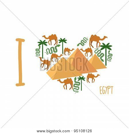 I love Egypt. Symbol of  heart of countrys attractions: pyramids and camels, snakes, and palm trees.