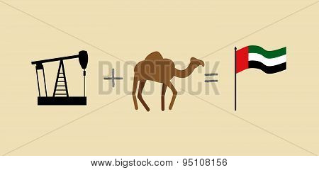 Oil rig and camel. Symbols of  United Arab Emirates. UAE Flag. Vector illustration
