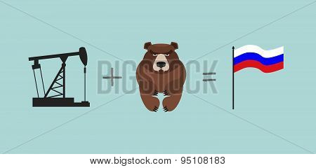 Oil rig and   bear. Symbols Russia.  Flag Of Russia. Vector illustration