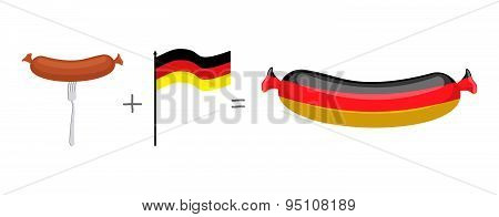 Sausage and German flag. Made in Germany, traditional German quality meat products. Vector illustrat