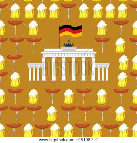 German seamless ornament. Symbols of Germany: beer and sausages.  German flag and  Brandenburg Gate.