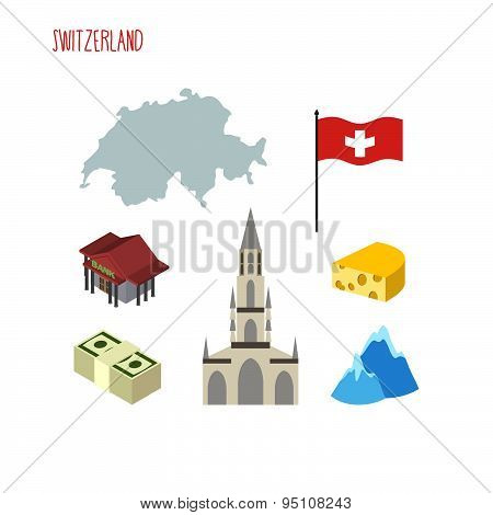 Set of icons for Switzerland. Map and flag of country. Berne Cathedral and banks. Vector illustratio