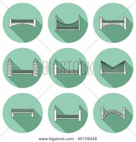 Set of simple cute cartoon outline hand drawn bridge icons with shadows. City and travel concept