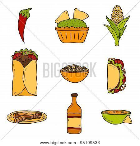 Set of cute cartoon hand drawn icons on mexican food theme: chili, taco. tobacco, birrito, nachos, t