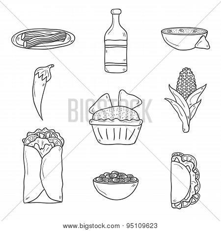 Set of cute cartoon hand drawn outline icons on mexican food theme: chili, taco. tobacco, birrito, n