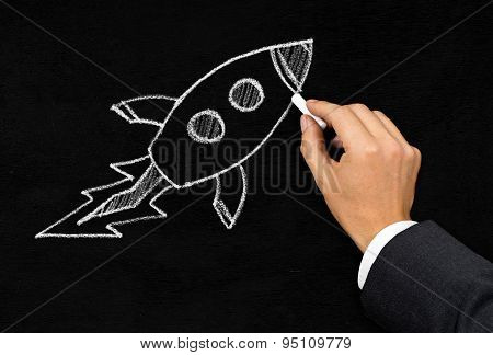 Start-up Or Innovation Rocket Drawing Concept