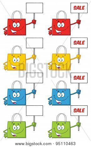 Shopping Bags Character . Collection Set