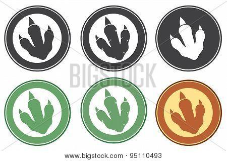 Dinosaur Footprint Circle Label . Collection Set