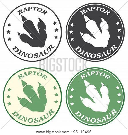 Dinosaur Footprint Circle Label With Text. Collection Set