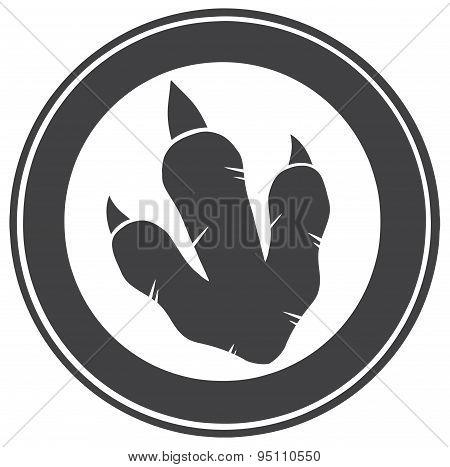Dinosaur Footprint Circle Label Design